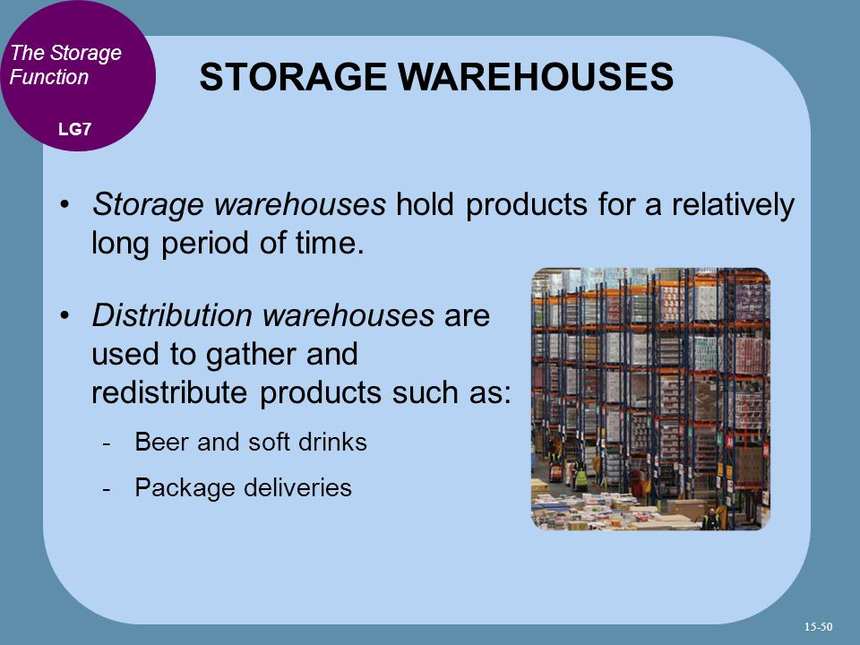 STORAGE WAREHOUSES The Storage Function. LG7. Storage warehouses hold products for a relatively long period of time.