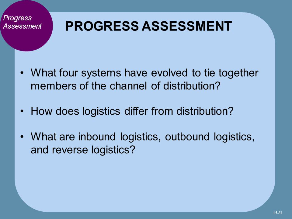 PROGRESS ASSESSMENT Progress Assessment. What four systems have evolved to tie together members of the channel of distribution