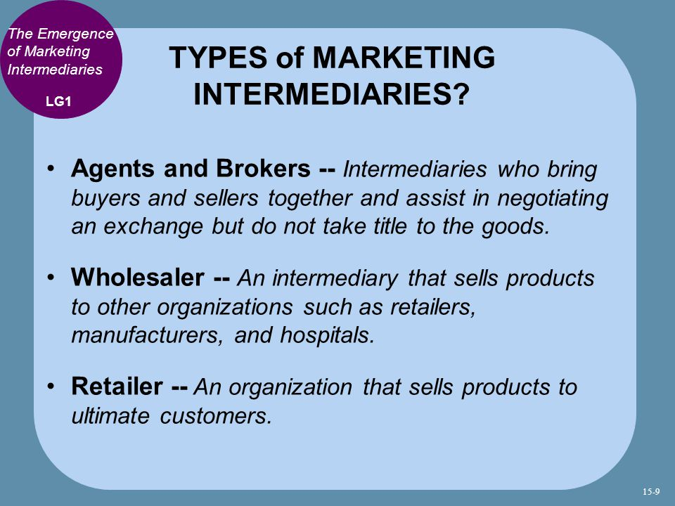TYPES of MARKETING INTERMEDIARIES