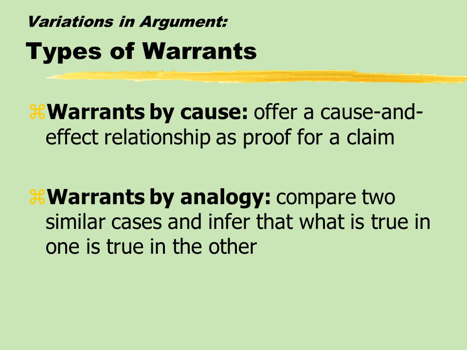 Variations in Argument: Types of Warrants