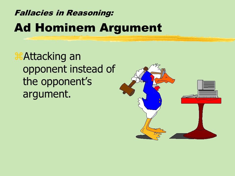 Fallacies in Reasoning: Ad Hominem Argument