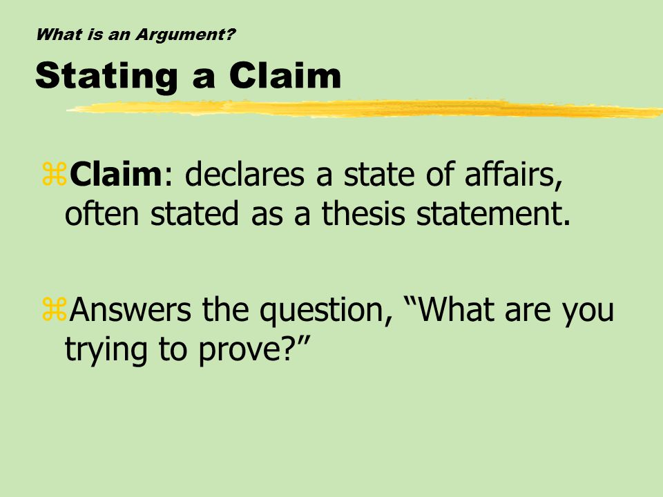 What is an Argument Stating a Claim