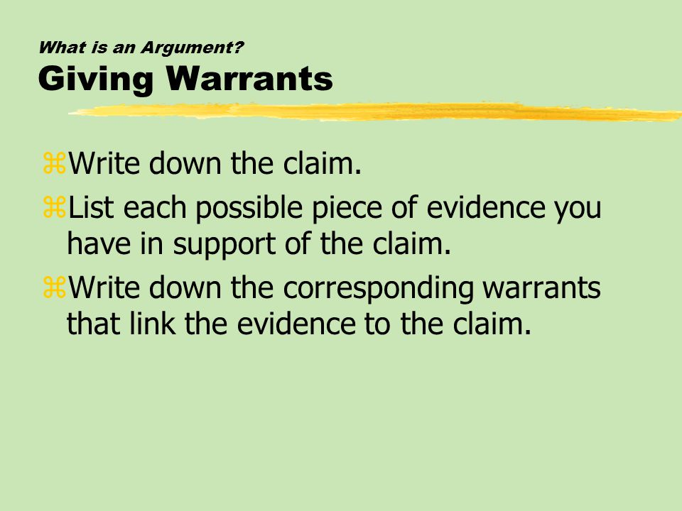 What is an Argument Giving Warrants