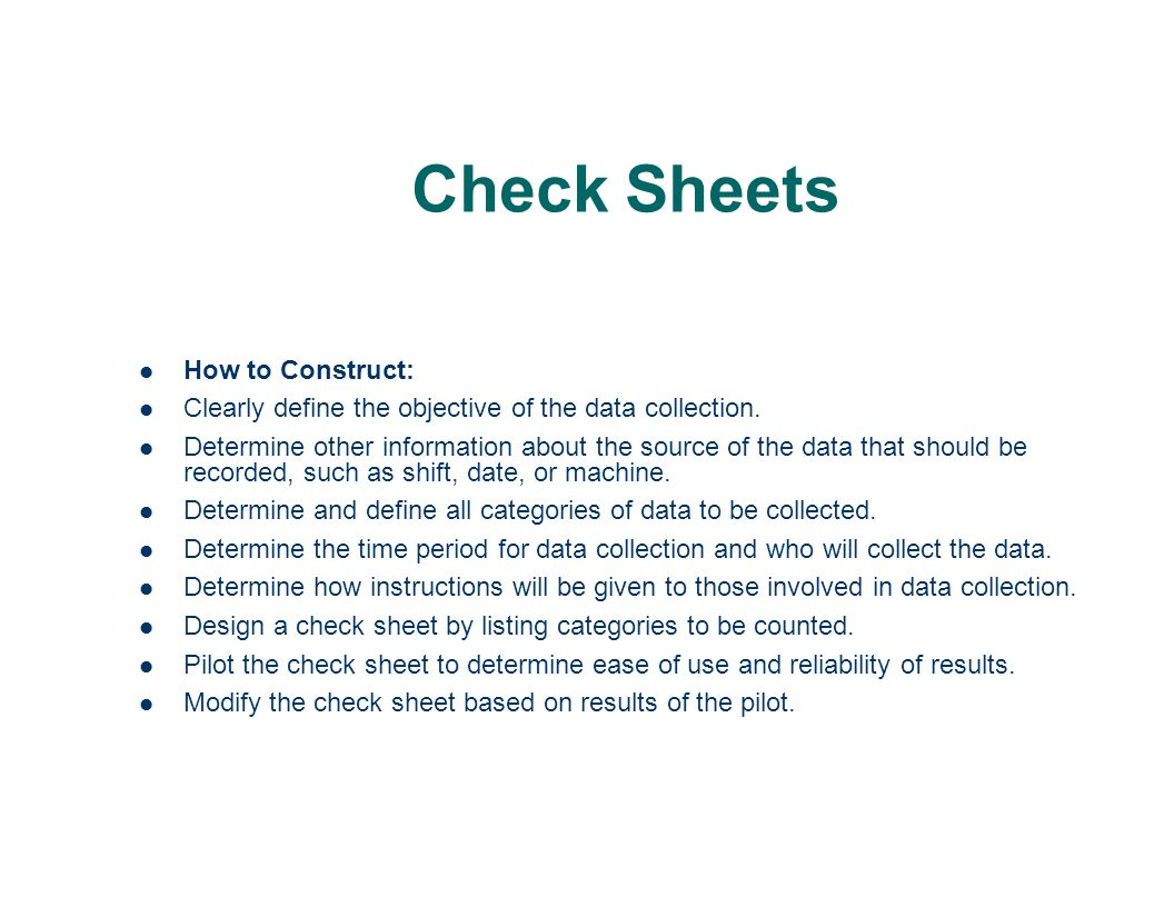 Check Sheets How to Construct: