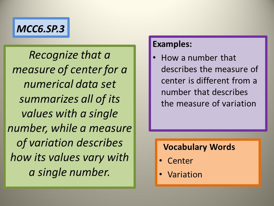MCC6.SP.3 Examples: How a number that describes the measure of center is different from a number that describes the measure of variation.