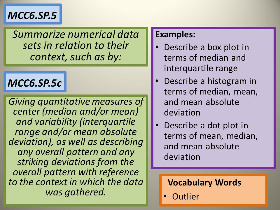 MCC6.SP.5 Summarize numerical data sets in relation to their context, such as by: Examples: