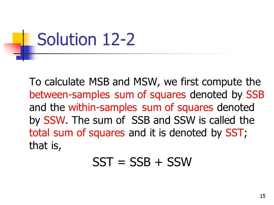 Solution 12-2 SST = SSB + SSW