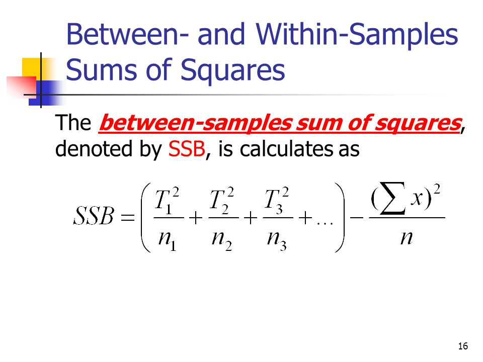Between- and Within-Samples Sums of Squares