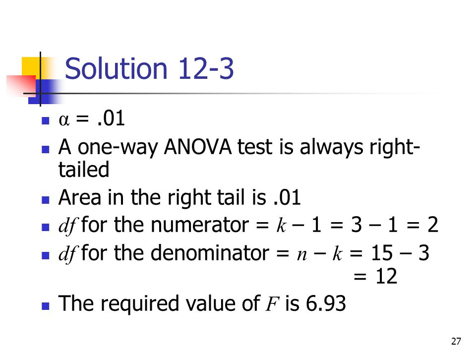 Solution 12-3 α = .01 A one-way ANOVA test is always right-tailed