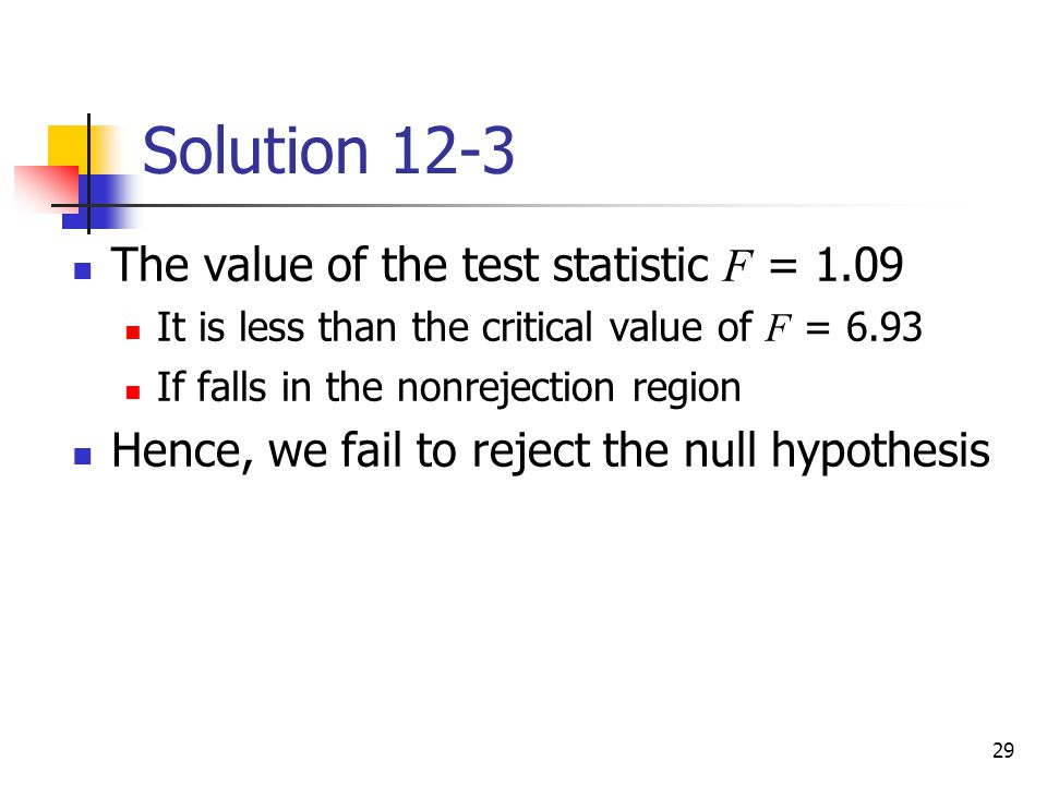 Solution 12-3 The value of the test statistic F = 1.09