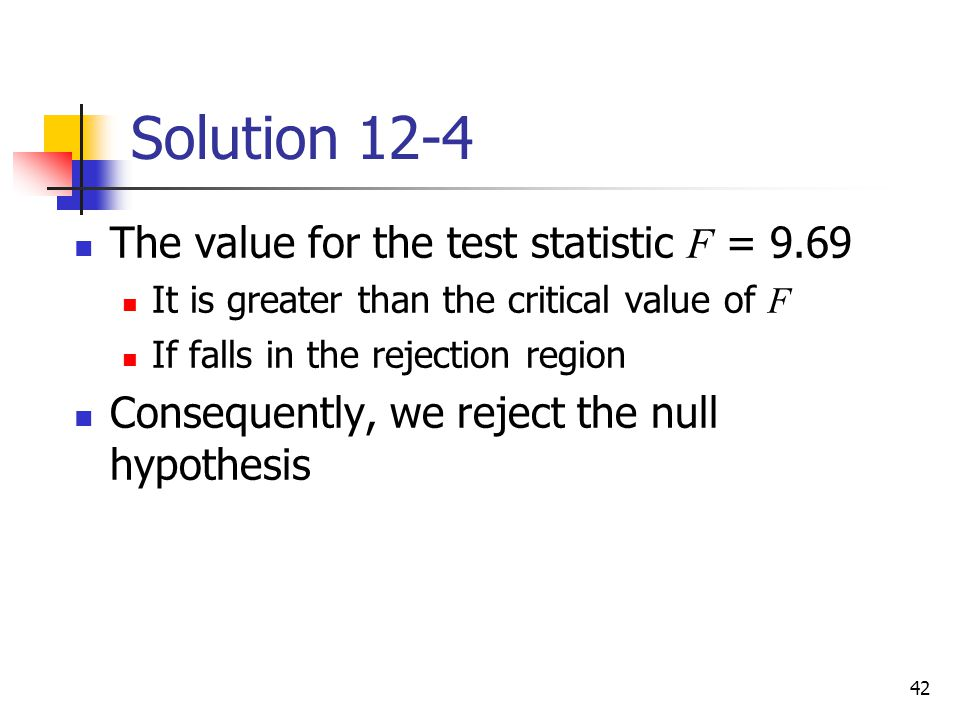Solution 12-4 The value for the test statistic F = 9.69
