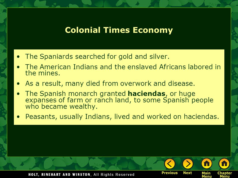 Colonial Times Economy