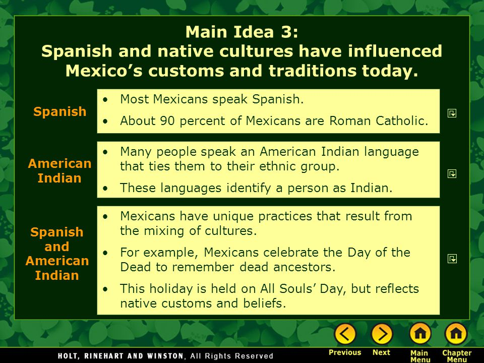 Main Idea 3: Spanish and native cultures have influenced Mexico's customs and traditions today.