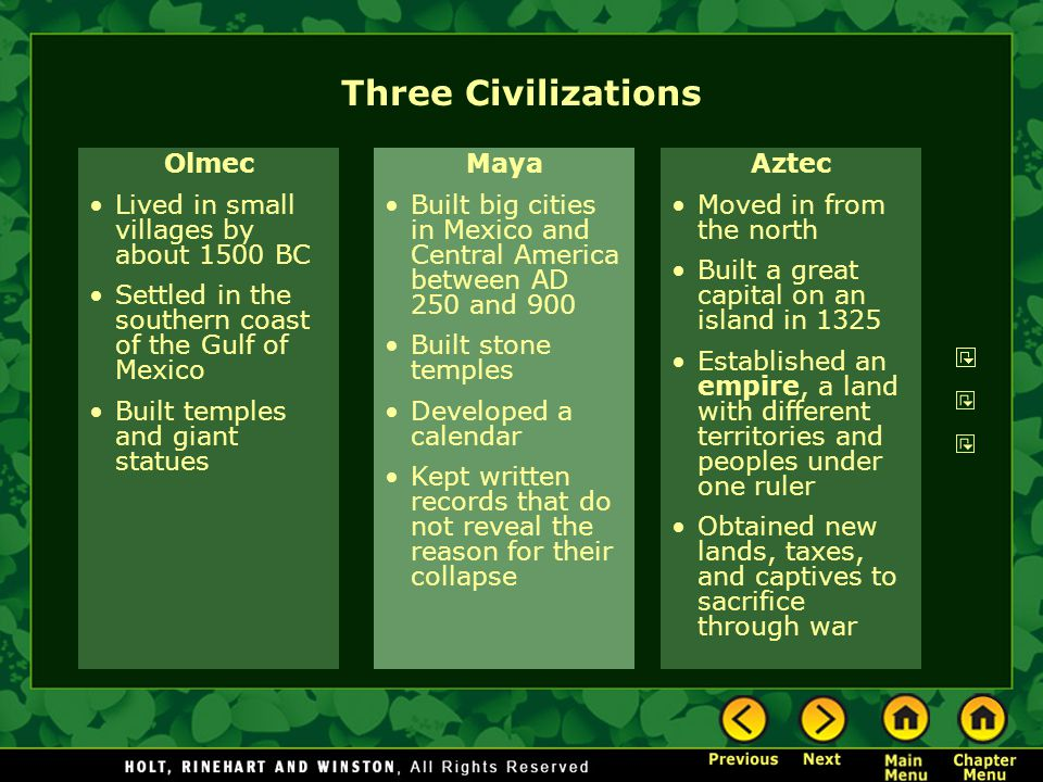 Three Civilizations Olmec Lived in small villages by about 1500 BC