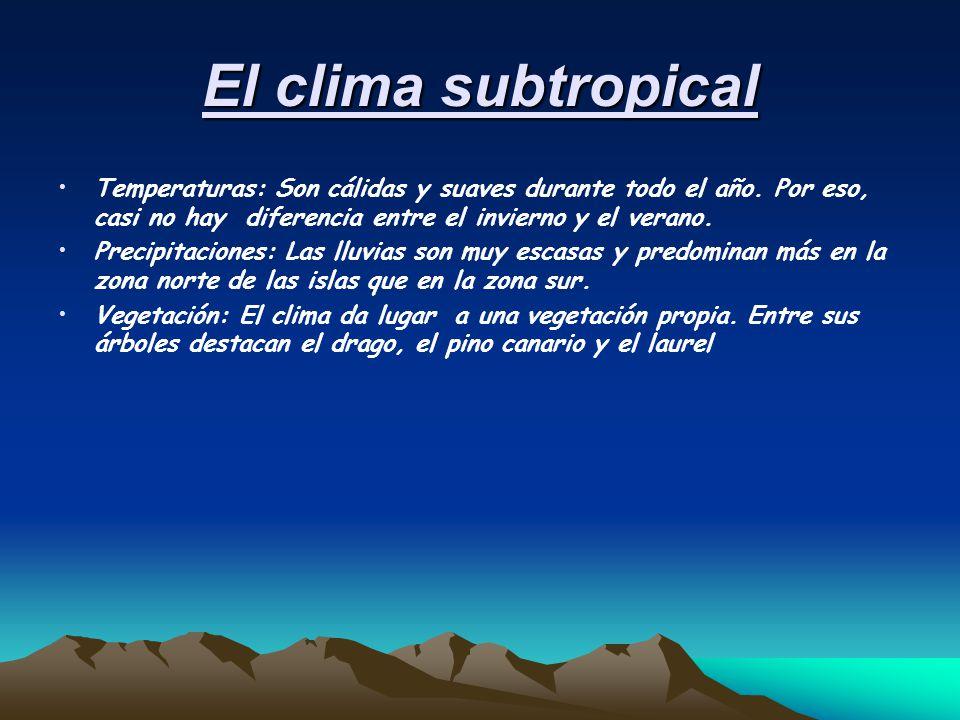 El clima subtropical Temperaturas: Son cálidas y suaves durante todo el año. Por eso, casi no hay diferencia entre el invierno y el verano.