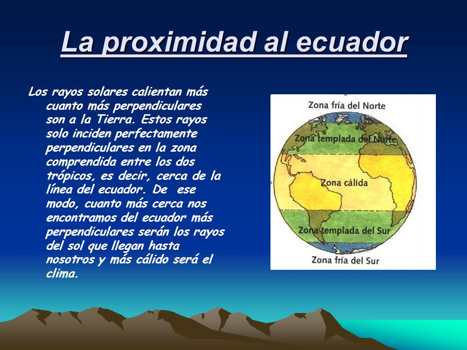La proximidad al ecuador