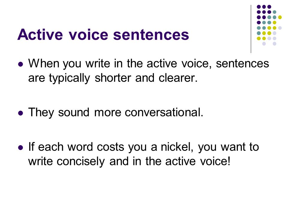 Active voice sentences