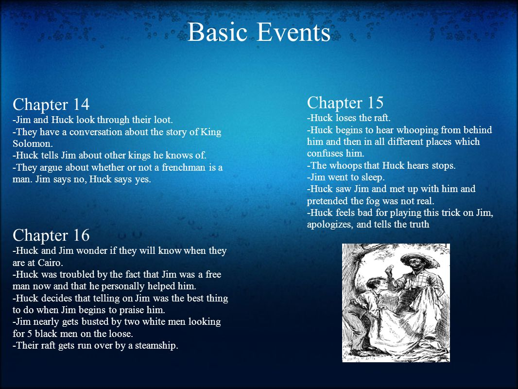 Basic Events Chapter 15 Chapter 14 Chapter 16 -Huck loses the raft.