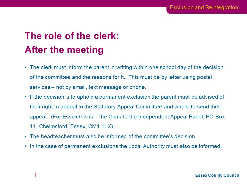 The role of the clerk: After the meeting