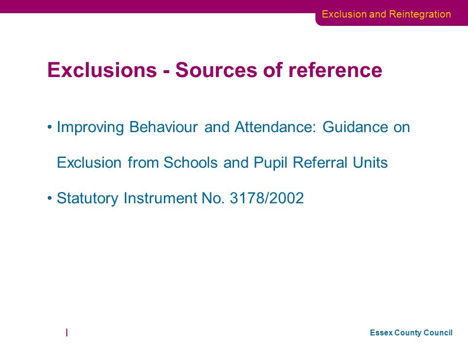 Exclusions - Sources of reference