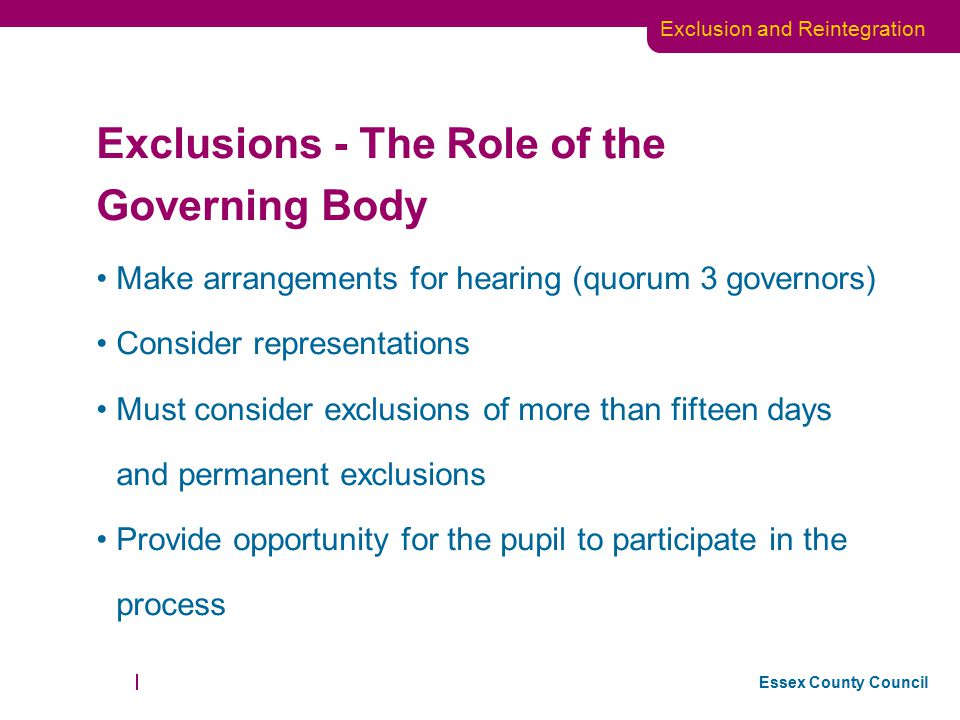 Exclusions - The Role of the Governing Body