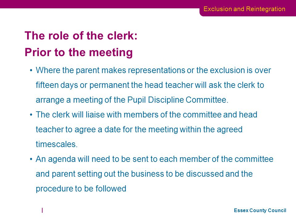 The role of the clerk: Prior to the meeting