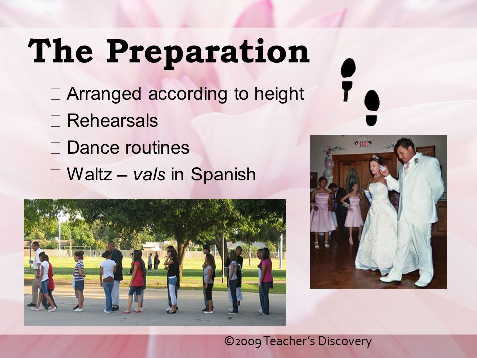 The Preparation Arranged according to height Rehearsals Dance routines