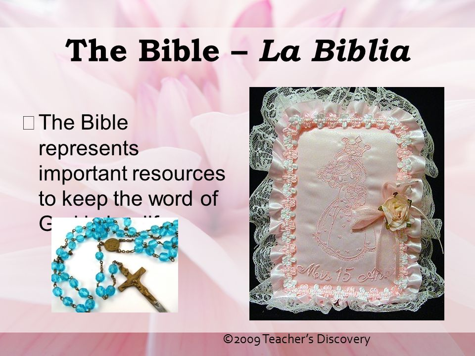 The Bible – La Biblia The Bible represents important resources to keep the word of God in her life.