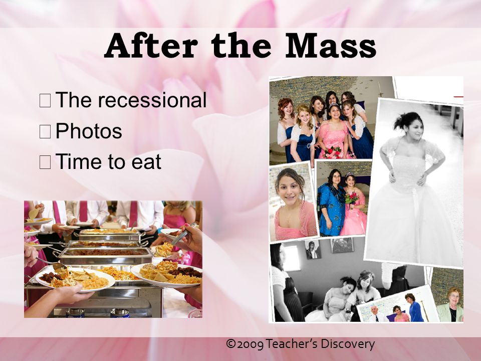 After the Mass The recessional Photos Time to eat