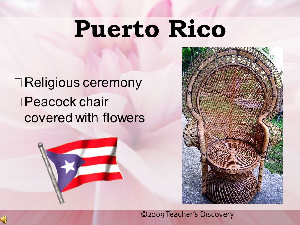 Puerto Rico Religious ceremony Peacock chair covered with flowers