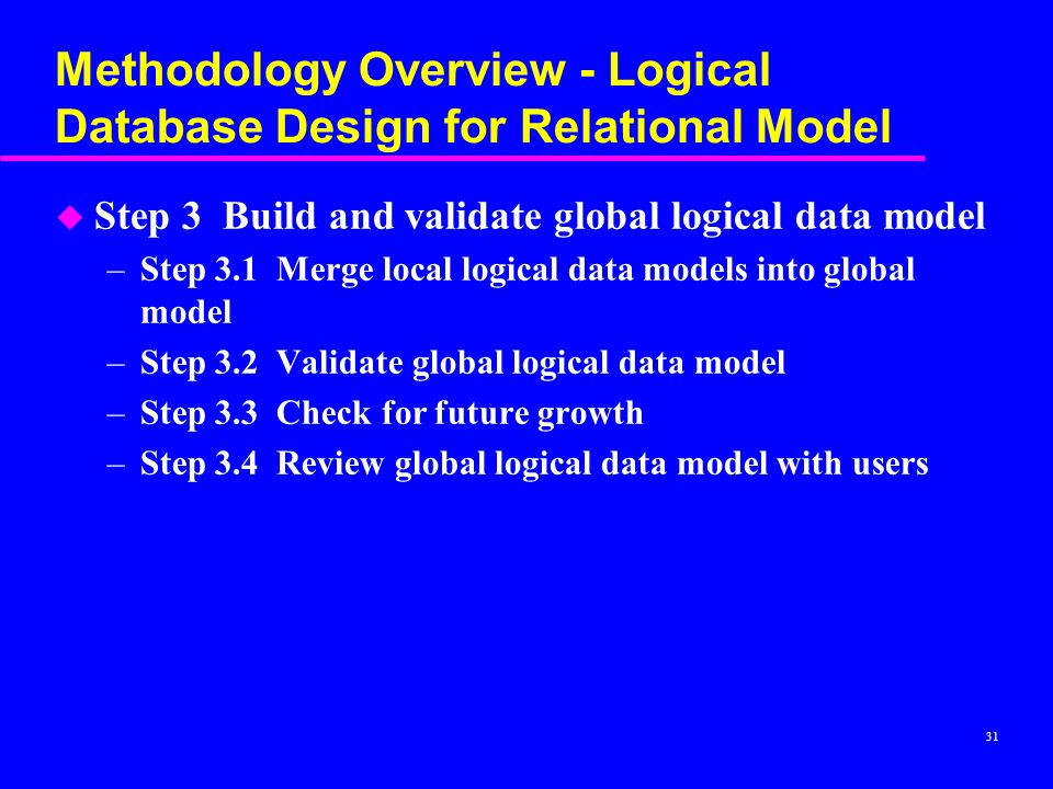 Methodology Overview - Logical Database Design for Relational Model