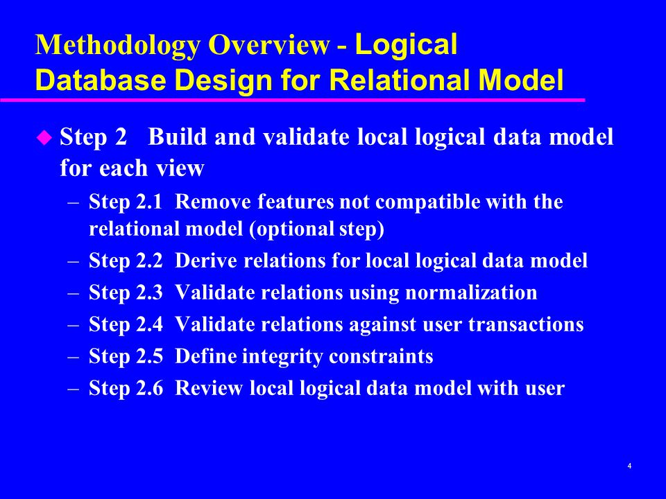 Methodology Overview - Logical Database Design for Relational Model