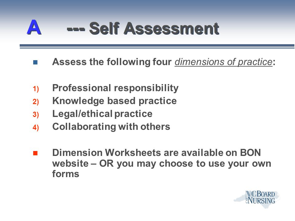 A --- Self Assessment Assess the following four dimensions of practice: Professional responsibility.