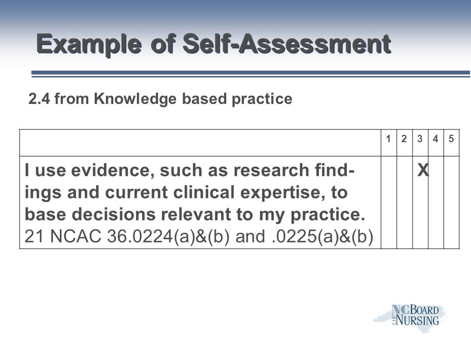Example of Self-Assessment