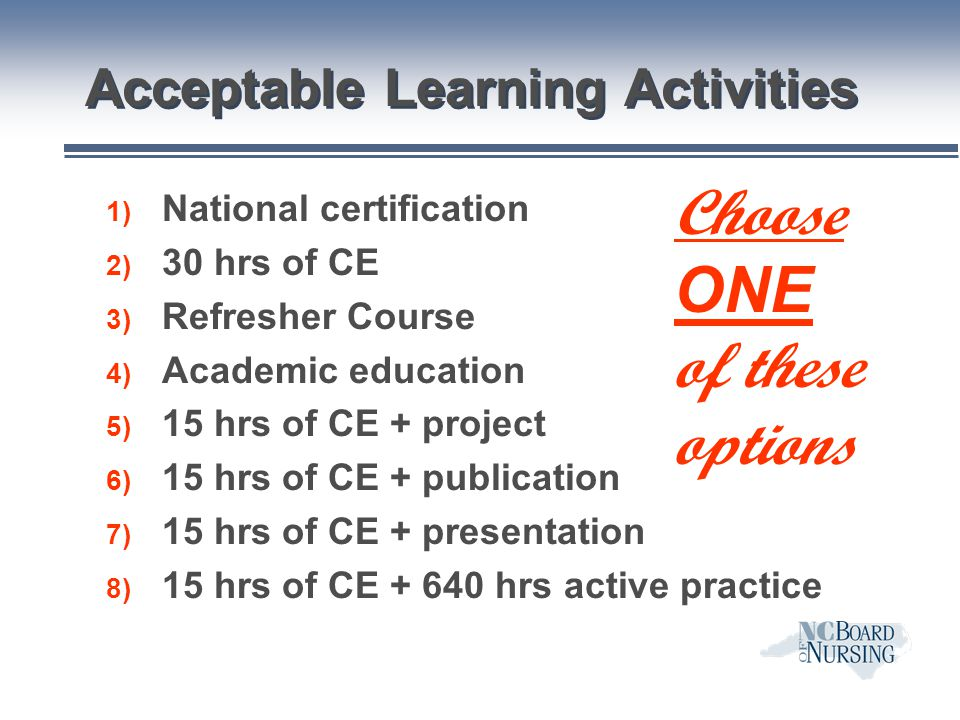 Acceptable Learning Activities
