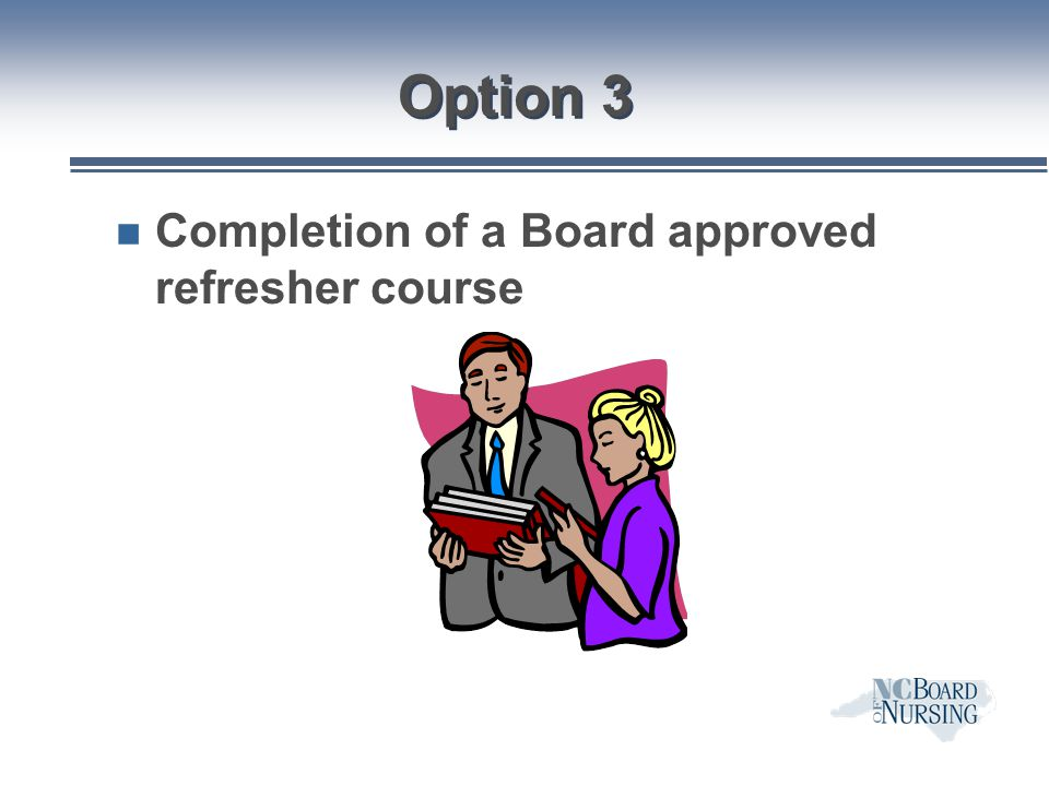 Option 3 Completion of a Board approved refresher course