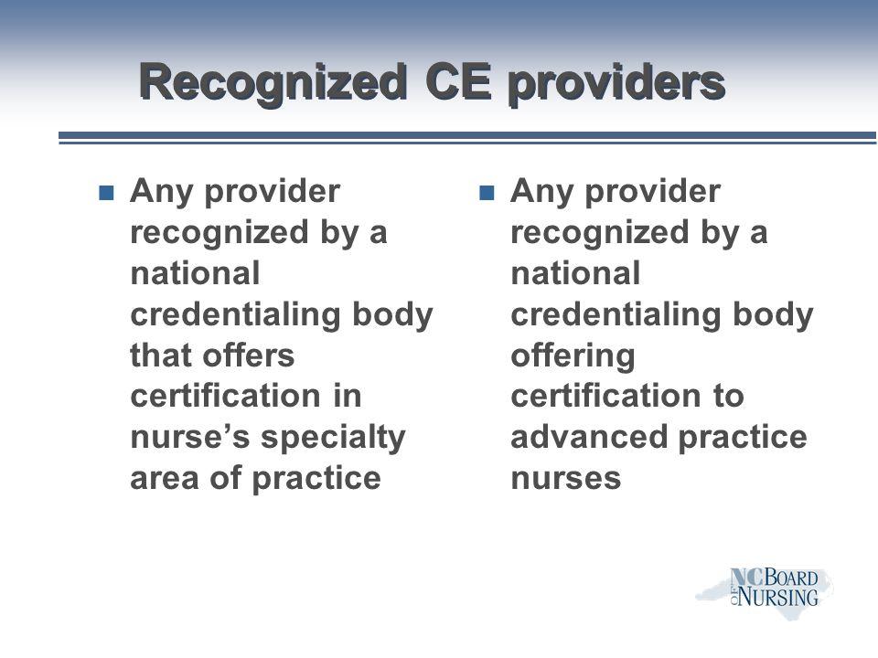 Recognized CE providers