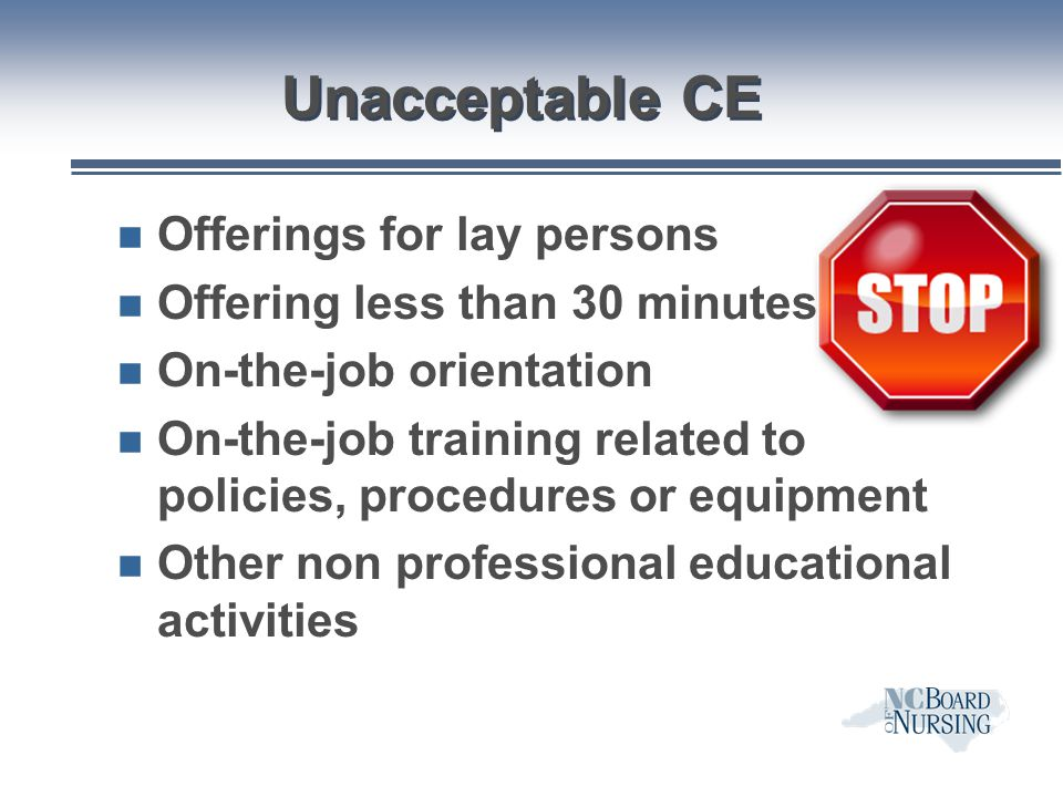 Unacceptable CE Offerings for lay persons