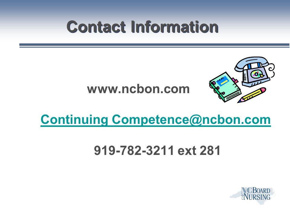 Continuing Competence@ncbon.com