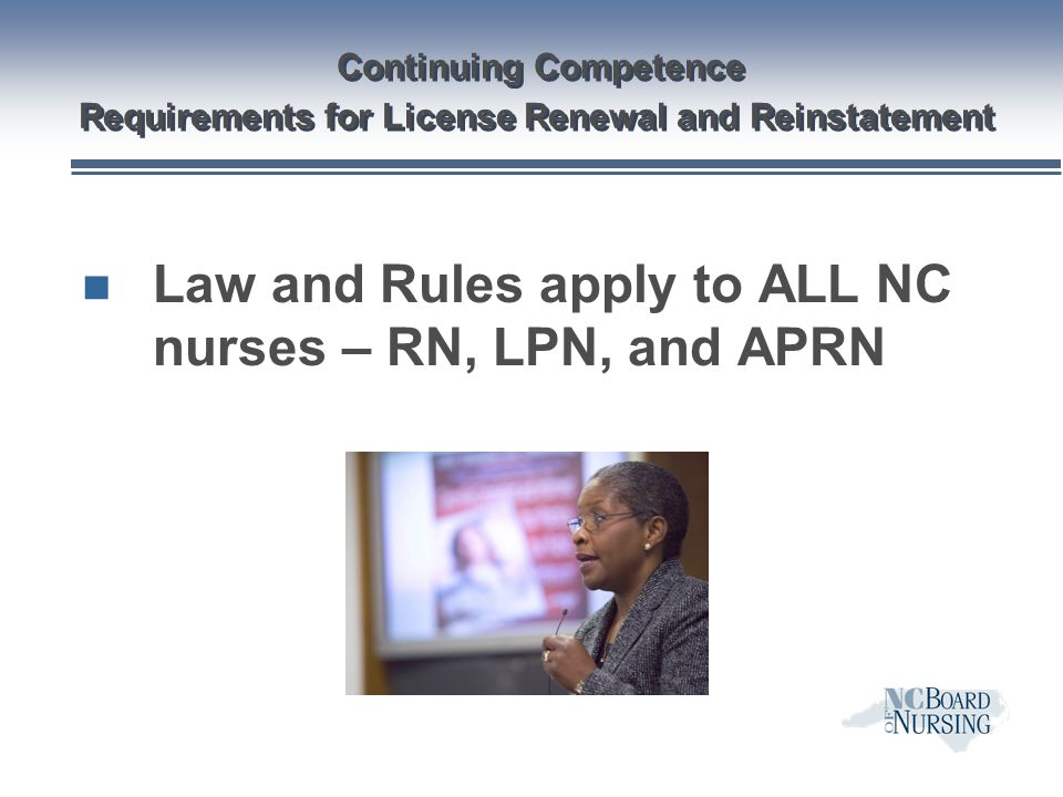 Continuing Competence Requirements for License Renewal and Reinstatement