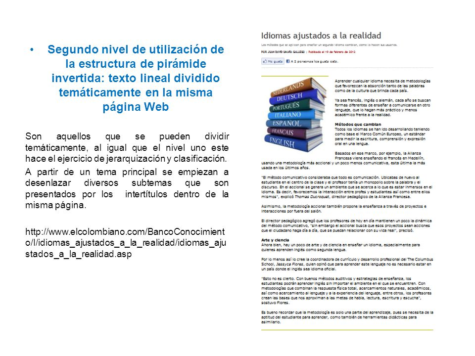 Segundo nivel de utilización de la estructura de pirámide invertida: texto lineal dividido temáticamente en la misma página Web