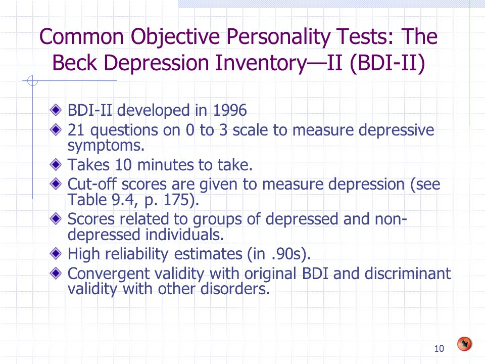 Common Objective Personality Tests: The Beck Depression Inventory—II (BDI-II)