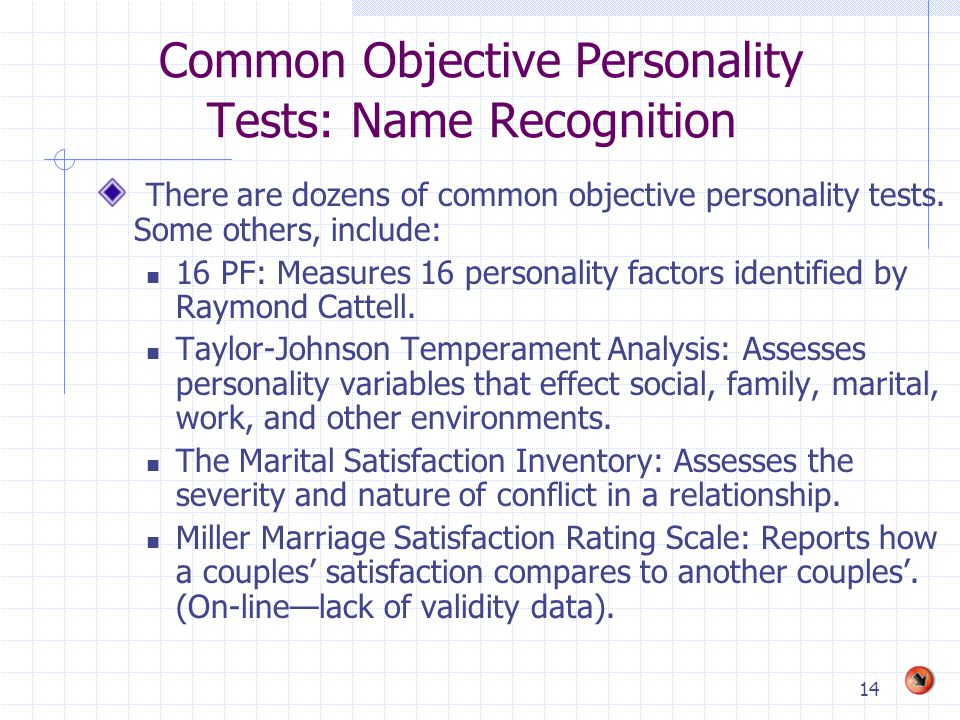 Common Objective Personality Tests: Name Recognition
