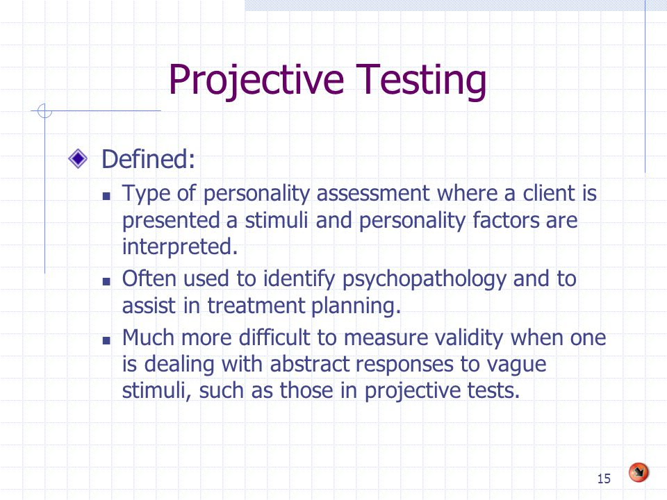 Projective Testing Defined: