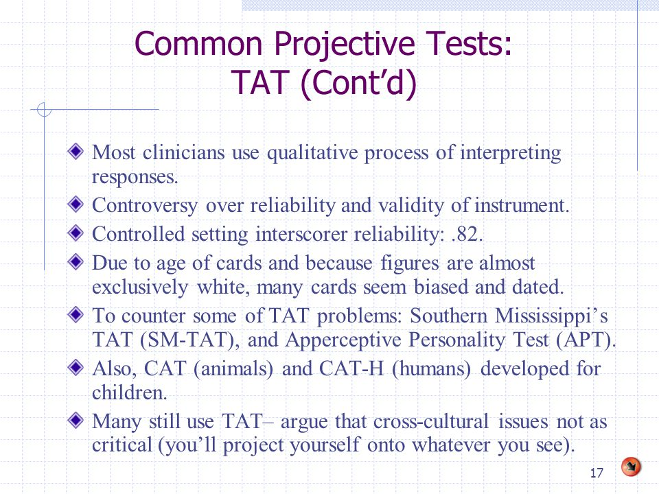 Common Projective Tests: TAT (Cont'd)