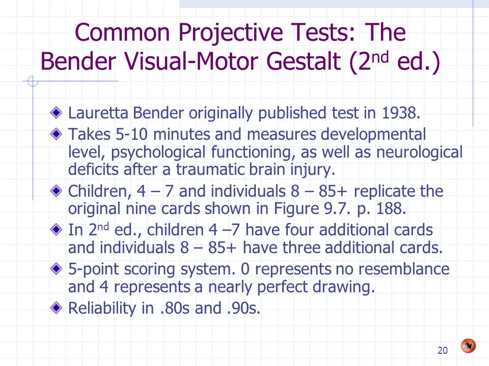 Common Projective Tests: The Bender Visual-Motor Gestalt (2nd ed.)