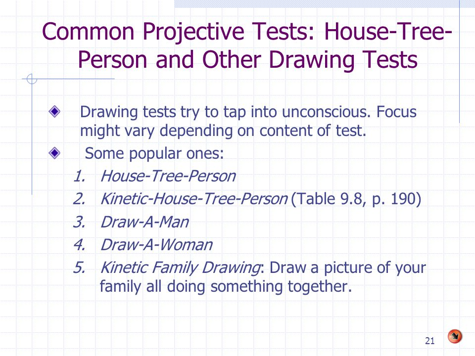 Common Projective Tests: House-Tree-Person and Other Drawing Tests
