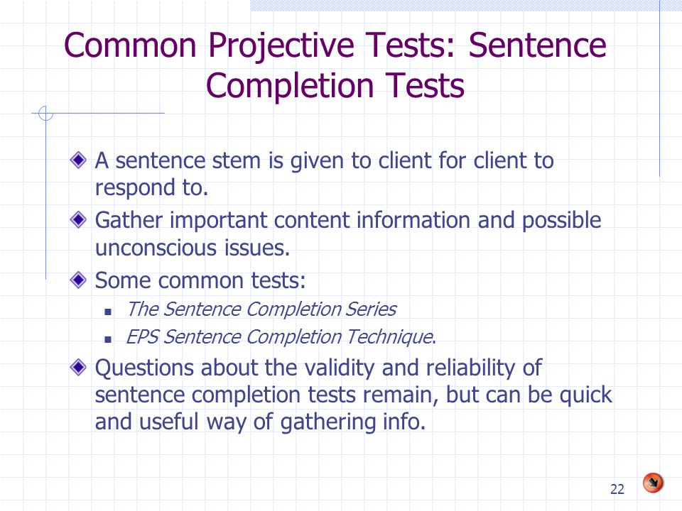 Common Projective Tests: Sentence Completion Tests