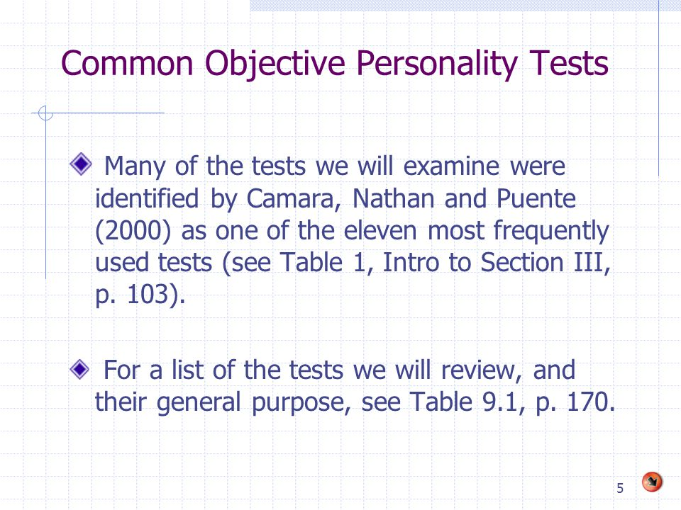 Common Objective Personality Tests