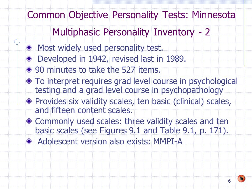 Common Objective Personality Tests: Minnesota Multiphasic Personality Inventory - 2